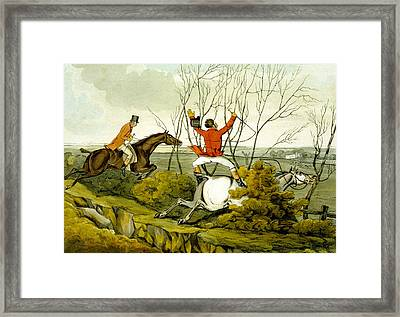 Plunging Through The Hedge From Qualified Horses And Unqualified Riders Framed Print by Henry Thomas Alken