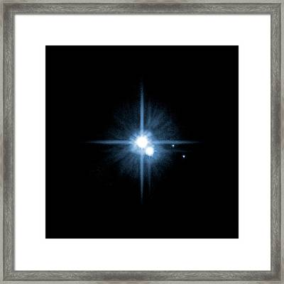 Pluto And Its Moons Framed Print by Nasa, Esa, H. Weaver (jhuapl), A. Stern (swri), And The Hst Pluto Companion Search Team