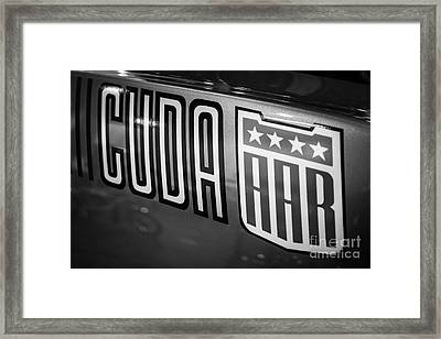 Plymouth Cuda Aar Decal Framed Print