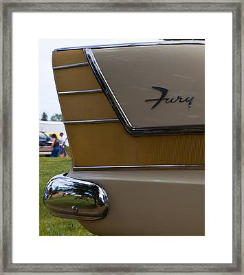 Framed Print featuring the photograph Plymouth Fury Tail Fin Detail by Mick Flynn