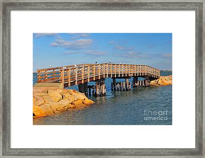Plymouth Harbor Breakwater Framed Print