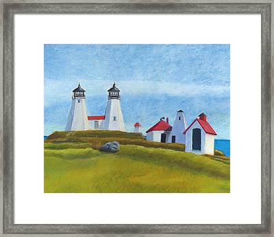 Plymouth Light Station Before 1924 Framed Print