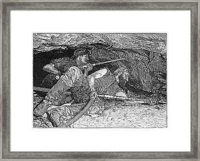 Pneumatic Mining Drills, Artwork Framed Print by Science Photo Library
