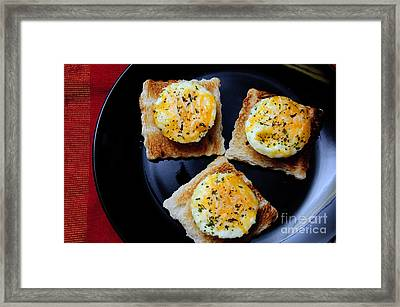 Poached Eggs On A Raft Framed Print by Andee Design
