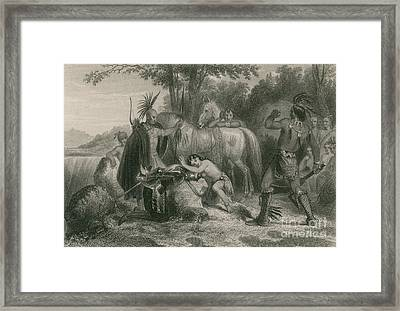 Pocahontas Saving Captain John Smith Framed Print by Photo Researchers