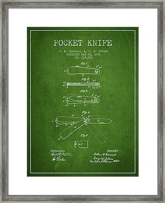 Pocket Knife Patent Drawing From 1886 - Green Framed Print by Aged Pixel