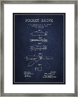 Pocket Knife Patent Drawing From 1886 - Navy Blue Framed Print by Aged Pixel