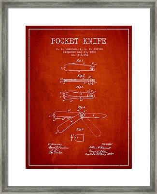 Pocket Knife Patent Drawing From 1886 - Red Framed Print by Aged Pixel