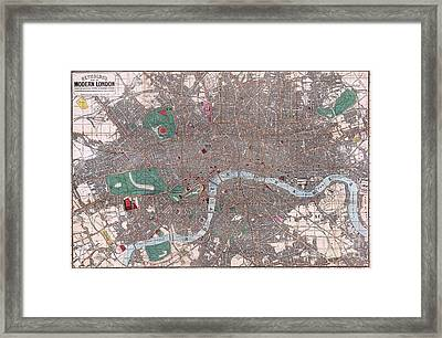 Pocket Map Of London England Framed Print by Pg Reproductions