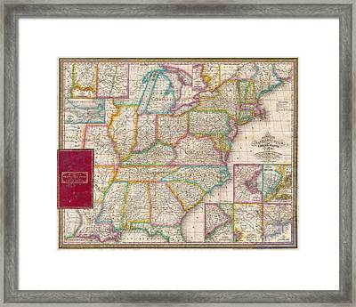 Pocket Map Of The United States Framed Print by Paul Fearn