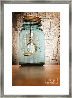 Pocket Watch In A Mason Jar Framed Print