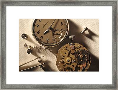 Pocket Watch Macro Number 1 Framed Print by John B Poisson