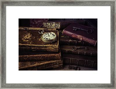 Pocket Watch On Old Book Framed Print by Garry Gay