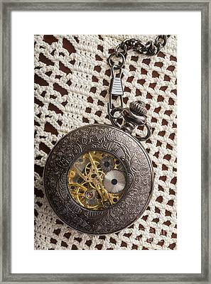 Pocket Watch Over Lace Framed Print by Edward Fielding
