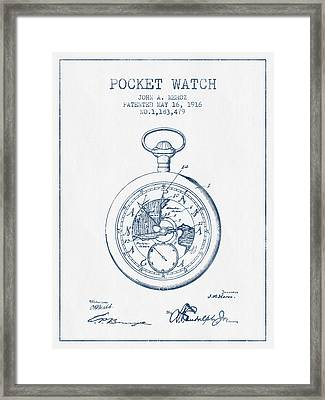 Pocket Watch Patent From 1916 - Blue Ink Framed Print