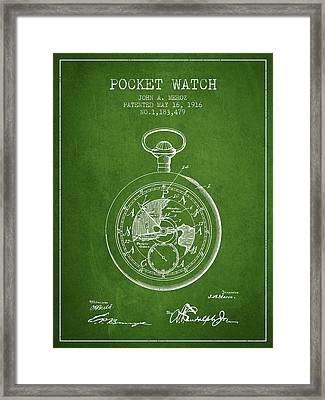 Pocket Watch Patent From 1916 - Green Framed Print