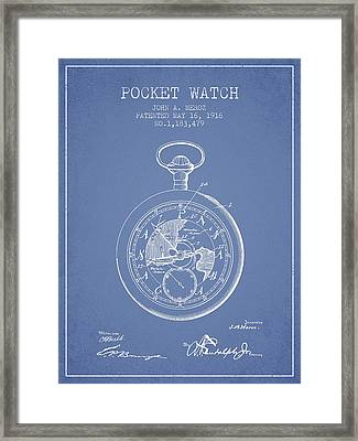 Pocket Watch Patent From 1916 - Light Blue Framed Print