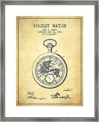Pocket Watch Patent From 1916 - Vintage Framed Print