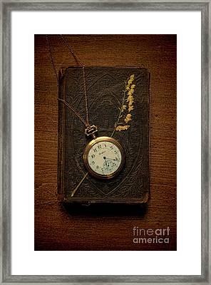 Pocketwatch On Old Book Framed Print