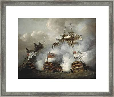 Pocock, Nicholas 1740-1821. The Hms Framed Print by Everett