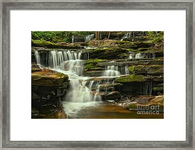 Poconos Mossy Cascades Framed Print by Adam Jewell