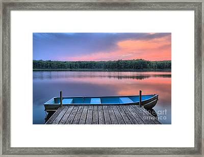 Poconos Lake Whitney Sunset Rowboat Framed Print