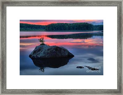 Poconos Lake Whitney Sunset Silhouette Framed Print by Adam Jewell