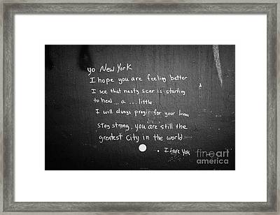 Poem Left By Wellwisher Ground Zero New York City Framed Print by Joe Fox