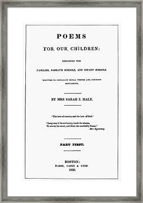 Poems For Our Children Framed Print by Granger