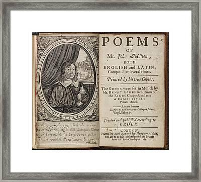Poems Of Mr John Milton Framed Print by British Library