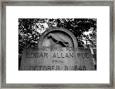 Poe's Original Burial Place Framed Print by Jennifer Ancker