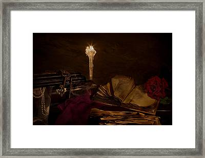 Poetry By Candle Light 2 Framed Print by Mary Tomaino