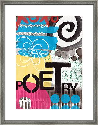 Poetry- Contemporary Abstract Painting Framed Print by Linda Woods