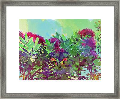 Framed Print featuring the painting Pohutakawa Tree by Jocelyn Friis