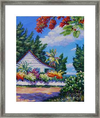 Poinciana And Cottage Framed Print