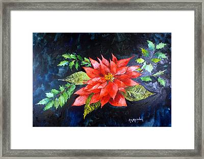 Poinsettia And Holly 2012 Framed Print