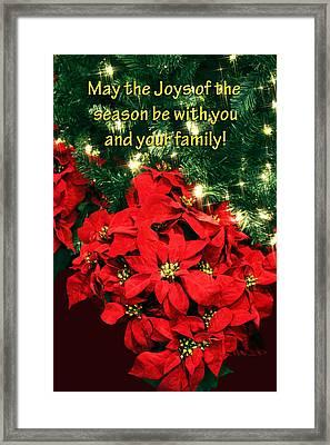 Poinsettia Christmas Card Framed Print by Linda Phelps