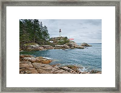 Framed Print featuring the photograph Point Atkinson Lighthouse And Rocky Shore by Jeff Goulden