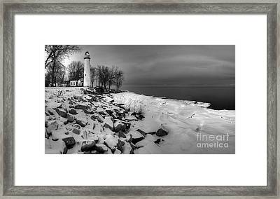 Point Aux Barques Lighthouse Black And White Framed Print by Twenty Two North Photography