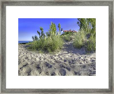 Point Betsie From Beach Framed Print by Twenty Two North Photography