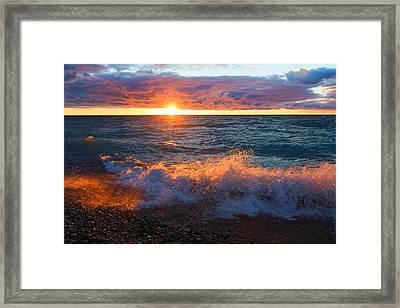 Point Betsie Sunset Framed Print by Craig Sterken