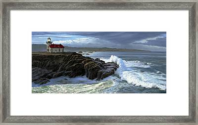 Point Cabrillo Lighthouse With Surf Framed Print