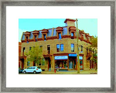 Point Couture Friperie Pointe St Charles Montreal Sears Catalogue City Scene Carole Spandau Framed Print by Carole Spandau