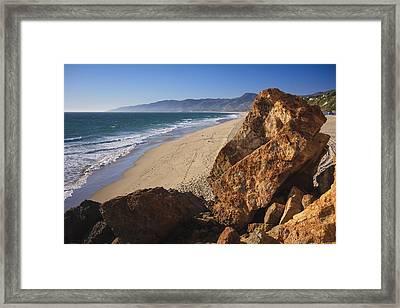 Point Dume Overlooking Zuma Beach Framed Print by Adam Romanowicz