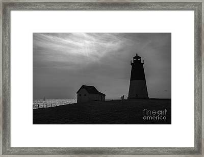 Point Judith Lighthouse Silhouette Framed Print by Diane Diederich