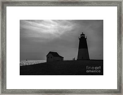 Point Judith Lighthouse Silhouette Framed Print