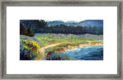 Point Lobos Trail Framed Print by Karin  Leonard