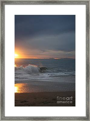 Point Mugu 1-9-10 Sun Setting With Surf Framed Print