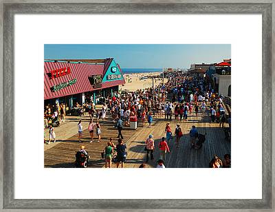 Point Pleasant Boardwalk Framed Print by James Kirkikis
