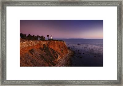Point Vicente Lighthouse - Sunset Panorama - Rancho Palo Verdes Framed Print